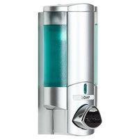 Dispenser Amenities 36134-BKMN Aviva 10 oz. Satin Silver Wall Mounted Locking Soap Dispenser with Translucent Bottle and Beekman Logo