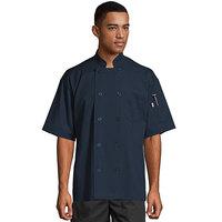 Uncommon Threads South Beach 0415 Navy Unisex Customizable Short Sleeve Chef Coat - 6XL