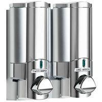 Dispenser Amenities 37244-BKMN Aviva 20 oz. Chrome 2-Chamber Wall Mounted Locking Shower Dispenser with Satin Silver Bottles and Beekman Logo