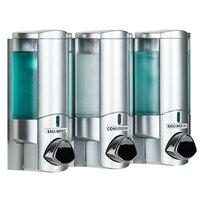 Dispenser Amenities 36334-BKMN Aviva 30 oz. Satin Silver 3-Chamber Wall Mounted Locking Soap Dispenser with Translucent Bottles and Beekman Logo