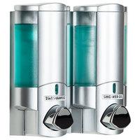 Dispenser Amenities 36234 Aviva 20 oz. Satin Silver 2-Chamber Wall Mounted Locking Soap Dispenser with Translucent Bottles