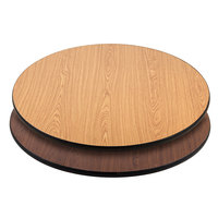 Lancaster Table & Seating 36 inch Laminated Round Table Top Reversible Walnut / Oak
