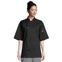 Uncommon Threads South Beach 0415 Black Unisex Customizable Short Sleeve Chef Coat - M