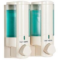 Dispenser Amenities 36270 Aviva 20 oz. Vanilla 2-Chamber Wall Mounted Locking Soap Dispenser with Translucent Bottles