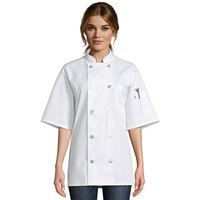 Uncommon Threads South Beach 0415 White Unisex Customizable Short Sleeve Chef Coat - S
