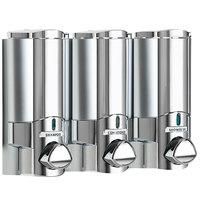 Dispenser Amenities 37344 Aviva 30 oz. Chrome 3-Chamber Wall Mounted Locking Shower Dispenser with Satin Silver Bottles