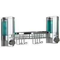 Dispenser Amenities 36244-14BSK-BKMN Aviva 20 oz. Chrome 2-Chamber Wall Mounted Locking Soap Dispenser with Translucent Bottles, Chrome Basket, and Beekman Logo