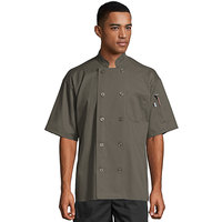 Uncommon Threads South Beach 0415 Olive Unisex Customizable Short Sleeve Chef Coat - L