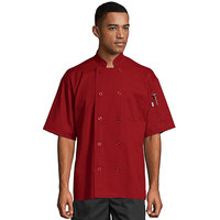 Uncommon Threads South Beach 0415 Red Unisex Customizable Short Sleeve Chef Coat - L