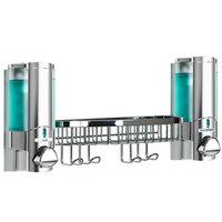 Dispenser Amenities 36234-14BSK-PAYA Aviva 20 oz. Satin Silver 2-Chamber Wall Mounted Locking Soap Dispenser with Translucent Bottles, Chrome Basket, and Paya Logo