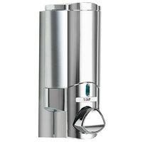 Dispenser Amenities 27144-SPBX Aviva 10 oz. Chrome Wall Mounted Locking Shower Dispenser with Satin Silver Bottle and Soapbox Logo