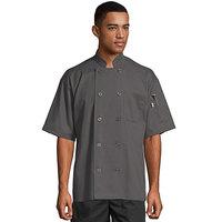 Uncommon Threads South Beach 0415 Slate Unisex Customizable Short Sleeve Chef Coat - XL