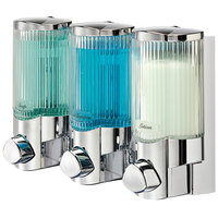 Dispenser Amenities 38344 Signature 30 oz. Chrome 3-Chamber Wall Mounted Locking Soap Dispenser with Translucent Bottles