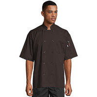 Uncommon Threads South Beach 0415 Brown Unisex Customizable Short Sleeve Chef Coat - S