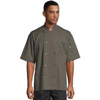 Uncommon Threads South Beach 0415 Olive Unisex Customizable Short Sleeve Chef Coat - M