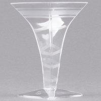Fineline Tiny Temptations 6408-CL 2 oz. Tiny Barware Clear Plastic Square Martini Glass - 96/Case
