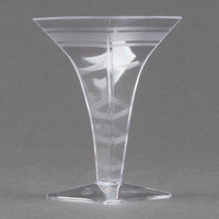 Fineline Tiny Temptations 6408-CL 2 oz. Tiny Barware Clear Plastic Square Martini Glass - 96/Case
