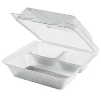 GET EC-01 9 inch x 9 inch x 3 1/2 inch Clear Customizable 3-Compartment Reusable Eco-Takeouts Container - 12/Case