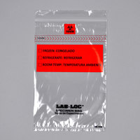 LK Packaging LABZ69B Lab-Loc 6 inch x 9 inch Seal-N-Rip Reclosable 3-Wall Specimen Transfer Bag with Removable Biohazard Symbol - 1000/Case