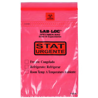 LK Packaging LABZ69RST Lab-Loc 6 inch x 9 inch Seal-N-Rip Reclosable STAT Red Tint 3-Wall Specimen Transfer Bag with Removable Biohazard Symbol - 1000/Case