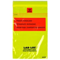 LK Packaging LABZ69YE Lab-Loc 6 inch x 9 inch Seal-N-Rip Reclosable Yellow Tint 3-Wall Specimen Transfer Bag with Removable Biohazard Symbol - 1000/Case