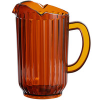 Choice 72 oz. Amber SAN Plastic Beverage Pitcher with 3 Spouts
