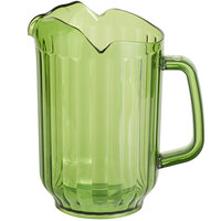 Choice 60 oz. Bamboo Green SAN Plastic Beverage Pitcher with 3 Spouts