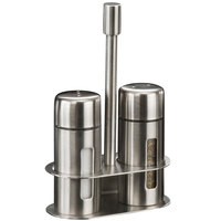 American Metalcraft SP6 1 oz. Brushed Stainless Steel Round Salt and Pepper Shaker Set with Base