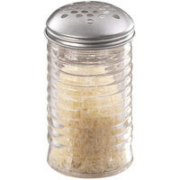 American Metalcraft BEE319 12 oz. Glass Beehive Cheese Shaker with Stainless Steel Lid and Extra Large Holes