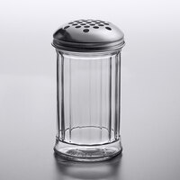 American Metalcraft GLA319 12 oz. Glass Cheese Shaker with Stainless Steel Lid and Extra Large Holes