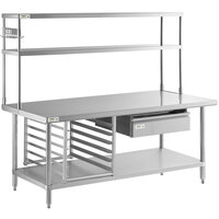 Regency 30 inch x 72 inch 18-Gauge 304 Stainless Steel Commercial Work Table with Undershelf and Overshelf, Drawer, Pot Rack, and Bun Pan Rack