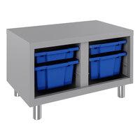 Hirsh Industries 22940 Huxley 30 inch x 18 inch x 19 inch Platinum Bin Bench with 4 Blue Bins