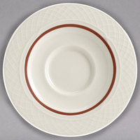 Homer Laughlin 3551492 Gothic Maroon Jade 5 5/8 inch Off White China Saucer - 36/Case
