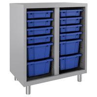 Hirsh Industries 22929 Huxley 30 inch x 18 inch x 36 inch Platinum Storage Cabinet with 12 Blue Bins