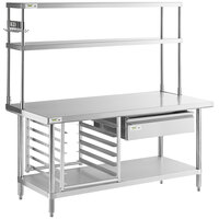 Regency 30 inch x 60 inch 18-Gauge 304 Stainless Steel Commercial Work Table with Undershelf and Overshelf, Drawer, Pot Rack, and Bun Pan Rack