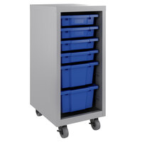 Hirsh Industries 22938 Huxley 15 inch x 18 inch x 36 inch Platinum Mobile Storage Cabinet with 6 Blue Bins