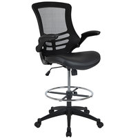 Flash Furniture BL-X-5M-D-BK-LEA-GG Mid-Back Black Mesh Drafting Stool with Flip-Up Arms and Leather Seat