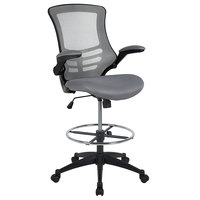 Flash Furniture BL-X-5M-D-DKGY-GG Mid-Back Dark Gray Mesh Drafting Stool with Flip-Up Arms