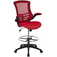 Flash Furniture BL-X-5M-D-RED-GG Mid-Back Red Mesh Drafting Stool with Flip-Up Arms