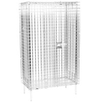 Metro SEC33C Chrome Stationary Wire Security Cabinet 38 1/2 inch x 21 1/2 inch x 66 13/16 inch