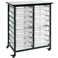 Luxor MBS-DR-16S-CL Mobile Clear Bin Storage Unit - 16 Small Bin Capacity