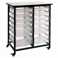 Luxor MBS-DR-8S4L-CL Mobile Clear Bin Storage Unit - 8 Small and 4 Large Bin Capacity