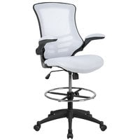 Flash Furniture BL-X-5M-D-WH-GG Mid-Back White Mesh Drafting Stool with Flip-Up Arms