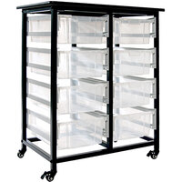 Luxor MBS-DR-8L-CL Mobile Clear Bin Storage Unit - 8 Large Bin Capacity
