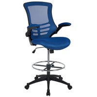 Flash Furniture BL-X-5M-D-BLUE-GG Mid-Back Blue Mesh Drafting Stool with Flip-Up Arms