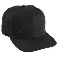 Mercer Culinary Black 6-Panel Snapback Hat with Small Black Logo