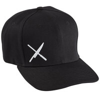 Mercer Culinary Black 6-Panel Snapback Hat with Small White Logo