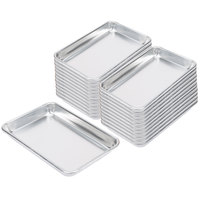 Baker's Mark Bulk Case of (24) Eighth Size 18 Gauge 6 1/2 inch x 9 1/2 inch Wire in Rim Aluminum Bun Pans / Sheet Pans
