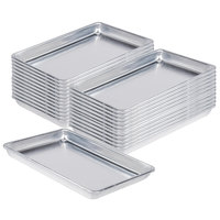 Baker's Mark Bulk Case of (24) Quarter Size 19 Gauge 9 1/2 inch x 13 inch Wire in Rim Aluminum Bun / Sheet Pans