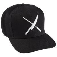 Mercer Culinary Black 6-Panel Snapback Hat with Large White Logo